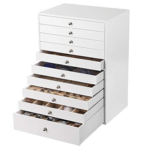 SONGMICS Boîte à Bijoux Extra large, Boîte de rangement à 10 Niveaux, Organiseur en PU, avec Tiroir, Blanc JBC10W