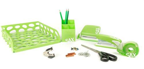 SAX Büro-Starterset | Büroset | Qualitativ hochwertiges 10-teiliges Büro-Set | Schreibtisch-Set mit Locher, Hefter, 2 Aktenkörbe, Stiftköcher, Klebebandspender, Schere, Heftklammerentferner, Heftklammern, Markierungsnadeln, Büroklammern
