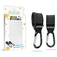 Premium Buggy Clips by Little Explorers | Shopping Bag & Changing Bag Holders for Pushchairs | Pram & Stroller Organiser | Set of 2 Black Universal Fit Hooks