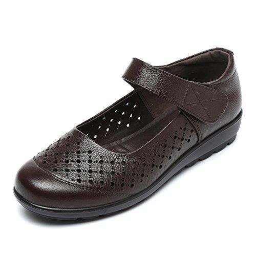 ZCJB Sandales Été Confortable Mi-âge Maman Chaussures En Cuir Fond Mou Antidérapant Grande Taille Sandales Pour Les Femmes Âgées Chaussures Plates Talons Chaussures En Cuir