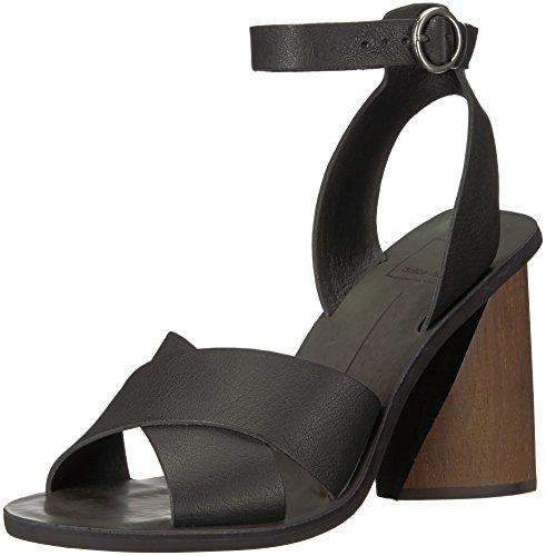 Dolce Vita Women's Athena Heeled Sandal, Black Leather, 7 M US (Vita Dolce Schwarz Leder)