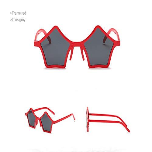 Unbekannt 2019 Neue Einzigartige Pentagramm Stil Sonnenbrille Frauen Vintage Rot Schwarz Leopard Kunststoff Sterne Sonnenbrille Brillen UV400,A (Schwarzes Kunststoff Kostüm Brille)