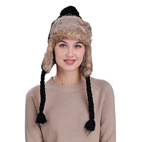 CICIYONER Frauen Dicke Strick Wolle Winter Hüte Caps mit Ohrenklappen (Frauen, Schwarz (Hütte Kostüme Party Die)