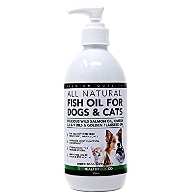 Fish Oil for Dogs & Cats | 500ml | 100% Natural Wild Scottish Salmon Oil, Omega 3, 6, 9 Supplement and Flaxseed Oil For Pets from The Healthy Dog Co