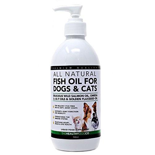 Olio di pesce per cani e gatti | 500ml | 100% olio naturale di salmone selvaggio scozzese, integratore con omega 3, 6 e 9 e olio di semi di lino per animali