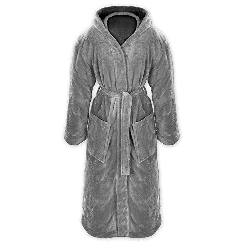 Gräfenstayn® Damen & Herren Kuschelfleece Bademantel mit Kapuze Größe S-XXXL Öko-Tex Standard 100 Flanell Fleece (M, Grau)