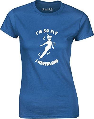 Brand88 - I'm So Fly I Neverland, Mesdames T-shirt imprimé Bleu/Blanc