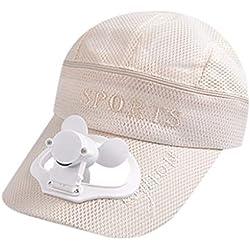 Jamicy® - Casquette de Ventilation d'été avec Ventilateur, Bonnet ventilé avec Ventilateur, Ventilateur - Laissez Vous rafraîchir en Plein air - Beige - Medium