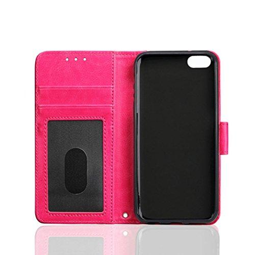 Ouneed® Ledertasche Retro Wallet Hülle für iPhone SE 4 Zoll mit Kartenfach extra Dünn Premium Design Leder Tasche Case (hot pink) hot pink