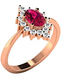 His & Her Gold, Solitaire And Ruby Ring For Women
