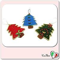 Set 3 häkeln hängenden Baum für Weihnachten - Größe: 9 cm x 13 cm H - Handmade - ITALY
