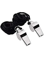 Golvery Sports Whistle Metal Referee Coach Whistle with Lanyard for Team Training, Soccer, Football, Basketball, Security and Emergency Survival Stainless Steel, 2 of Pack
