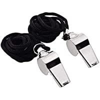 Gostscp Metal Referee, Coach Whistle - Stainless Steel - Extra Loud Whistle with Lanyard for School Sports, Soccer, Football, Basketball and Lifeguard Protection,2 of Pack