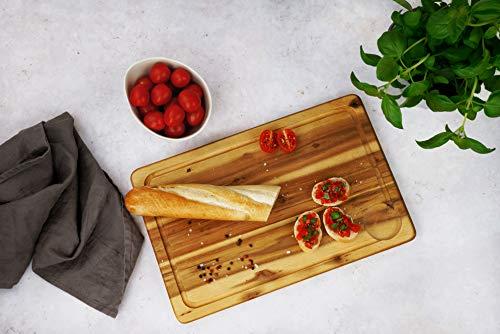 Fackelmann Schneidebrett Akazie, Küchenbrett aus Natur-Holz als Frühstücksbrett verwendbar - 3