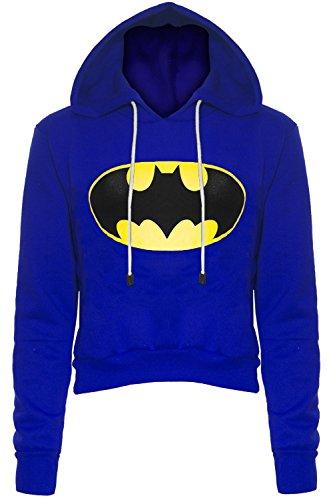 Be Jealous - Sweat Capuche Court Pour Femmes Longues Manches Motif Batman Bleu roi Batman