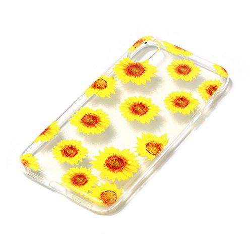 inShang iPhone X 5.8inch custodia cover del cellulare, Anti Slip, ultra sottile e leggero, custodia morbido realizzata in materiale del TPU, frosted shell , conveniente cell phone case per iPhone X 5. Sunflower