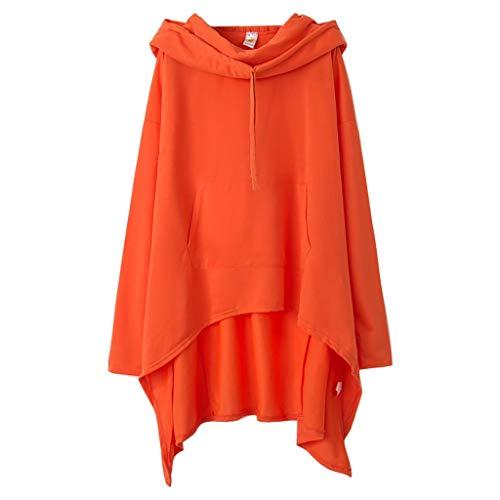 Xmiral Kapuzenpullover Damen Einfarbig Große Größe Sweatshirt mit Tasche Unregelmäßiger Saum Pullover Lose Tunika Jumper T-Shirt Tops(Orange,4XL)