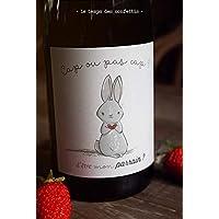 Etiquette de demande de parrain originale petit lapin pour coller sur une bouteille