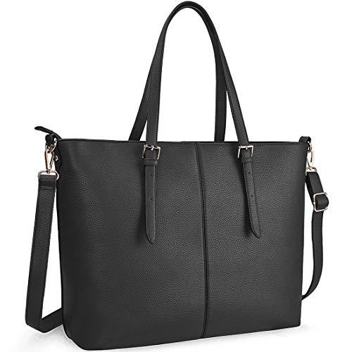 NUBILY Laptop Damen Handtasche 15,6 Zoll Shopper Handtasche Schwarz Elegant Leder Taschen Große Leichte Elegant Stilvolle Frauen Handtasche für Business/Schule/Einkauf Schwarz Laptop