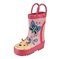 Cotswold Girls Pink Cat and Butterfly Wellies - Puddle Boots