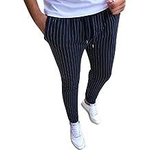 ec8095a6fa0f Pantalon À Rayures Homme Automne,Overdose Hiver Pantalons Ajusté Court Slim  Costume Sport Jogging Skinny
