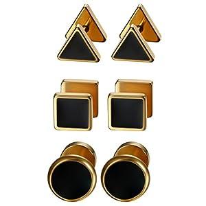 Aroncent 3 Paare Herren Ohrstecker Set Edelstahl Emaille Runde Dreieck Quadrat Fakeplugs Fake Ohr-Plug Ohrringe Tunnel Piercing Rosegold Schwarz