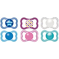 Mam - Ciuccio in silicone, per bambini dai 6 mesi in poi, modello stella,  colori assortiti