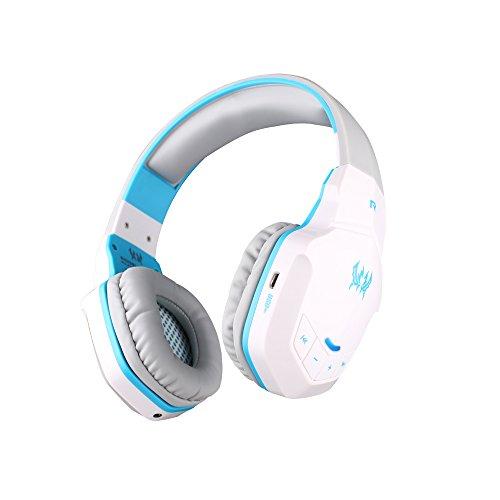 KOTION EACH B3505 Inalámbrica Bluetooth 4.1 Estéreo Diadema Gaming Headset Juego de Auriculares con Micrófono para PC Gamer Casque Audifonos para iPhone 6/iPhone 6 Plus, Samsung, HTC, Sony PS3, LG, tablets Blanco+Azul