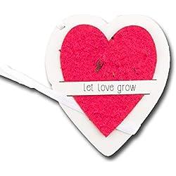 Gastgeschenk Blumensamen Hochzeit, Saatpapier Rot in Herz Form zum Einpflanzen, Geschenk für die Hochzeitsgäste, 5 er Set