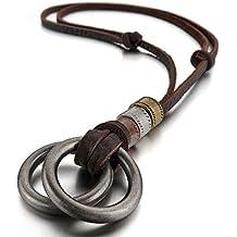 MENDINO Jewellery-Ciondolo in argento Sterling con collana da uomo in pelle, regolabile con 1 x Borsa velluto