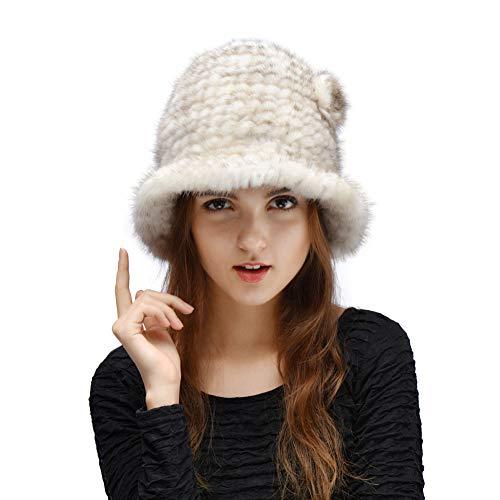 Nerz Ohrenschützer (YALTOL Kaschmirhut PlüSchhut MüTze Mode Nerz PelzmüTze Dicke Warme OhrenschüTzer FrüHling Und Herbst Winter Damen Passen,White)
