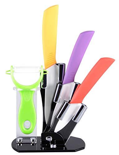 Set de couteaux en céramique set de bloc à couteaux de cuisine 5 pièces, 3 couteaux, 1 éplucheur et 1 bloc à couteaux)