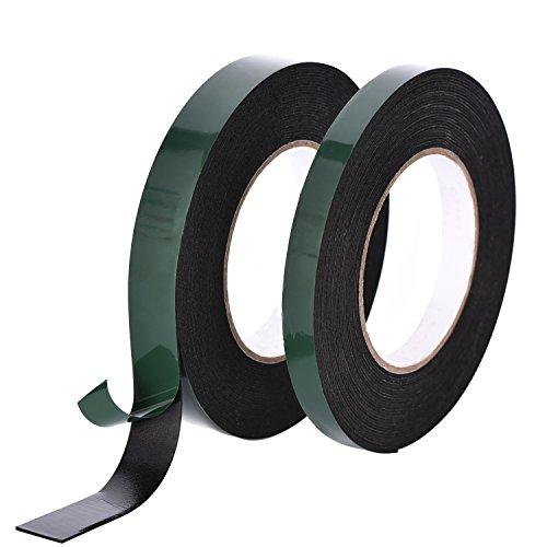 20 m Ruban en Mousse Ruban Éponge Adhésif Ruban Adhésif Double Face Rouleaux de Bande 13 mm et 25 mm de Large, Noir, 2 Rouleaux,10 m Chaque Rouleau