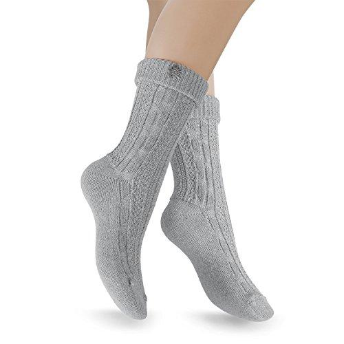 Celodoro 2 Paar Trachten Socken mit Edelweiß-Pin - Grau - Gr. 39-42 -