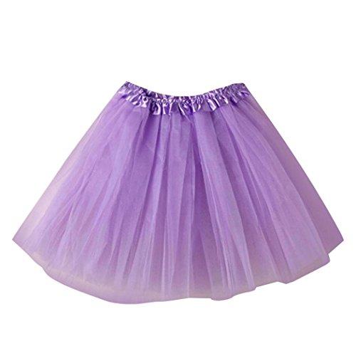 Tüllrock Damen, FNKDOR Mini Ballett Rüschen Unterkleid Tutu Ballettröckchen (Violett-Helles) (Violett Hell Womens)