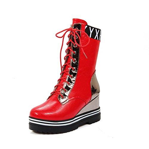 AgooLar Damen Blend-Materialien Rund Zehe Hoher Absatz Gemischte Farbe Schnüren Stiefel, Rot, 39 (Beliebte Frauen Halloween-kostüme Für 2019)