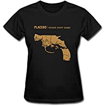 Damen's Placebo Design Short Cotton T Shirt Large
