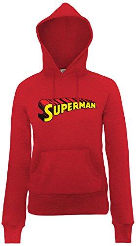 DC Universe Damen Kapuzenpullover Dc Comics Official Superman Telescopic Logo Womens Hooded Sweatshirt Rot - Cherry Red