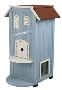 Trixie natura Katzenhaus Cat's Home, 56 × 94 × 59 cm, hellblau/weiß