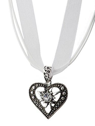 Trachtenkette Herzstein eleganter Herz Anhänger mit funkelndem Strass - Trachtenschmuck Kette für Dirndl und Lederhose (Weiss)