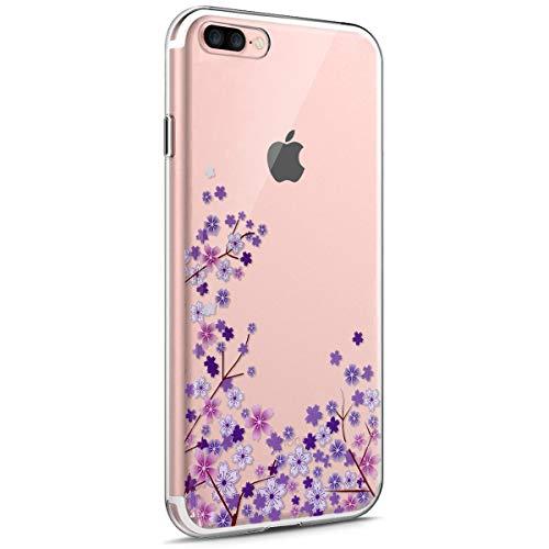 iPhone 7 Plus Funda,iPhone 8 Plus Funda,Funda Transparente Suave TPU Gel Ultra Fina Protección A Bordes Y Cámara Bumper Crystal Móvil Ultrafina Funda para iPhone 7 Plus/ 8 Plus,Flor de Cerezo Morada