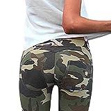Minetom Damen Camouflage SkinnyHose Legging mit Löchern Slim Fit Military Army Hosen Streetwear B Grün DE 38
