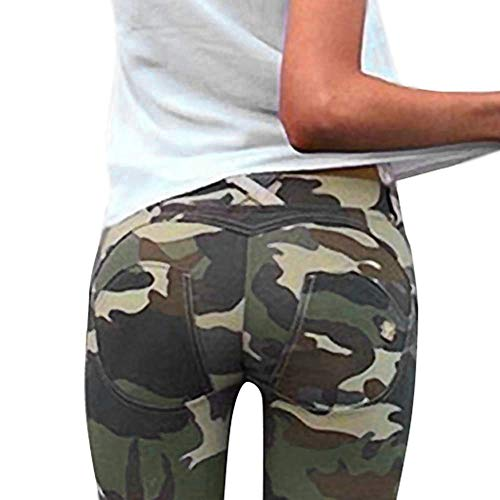 Minetom Damen Leggings Camouflage SkinnyHose mit Löchern Slim Fit Military Army Hosen Streetwear Knopf Tarnung Schlank Hose Treggings B Grün DE 36