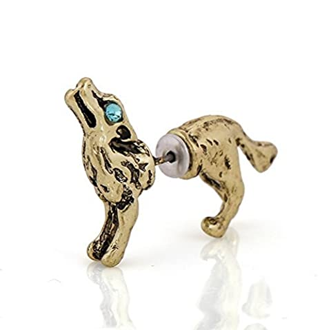 Winter 's Secret dreidimensionale Wolf Bronze Farbe Single 3D Ohrstecker Ohrring