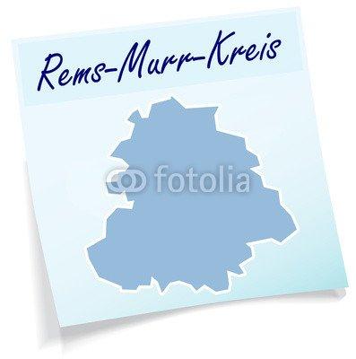 "Alu-Dibond-Bild 90 x 90 cm: ""Rems-Murr-Kreis als Notizzettel"", Bild auf Alu-Dibond"