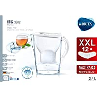 Brita Marella Carafe filtrante pour eau, 12 filtres Maxtra+ inclus, plastique san, blanc, 2,4 l