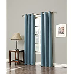 Sun Zero Easton Blackout Energy Efficient Grommet Curtain Panel, 40 x 95 Inch, Mineral Green