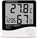 Vmoni HTC 1 Temperature Humidity Meter with Date Time Alarm Clock with LCD Display