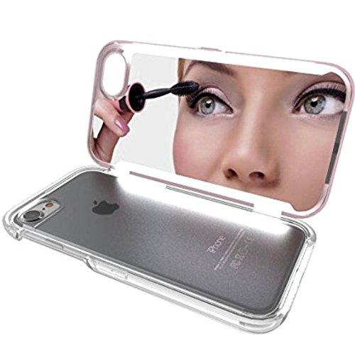 iPhone 6 / 6s LED Spiegel Handyhülle - Exclusive-ID - hochwertiges ultra-helles Selfie Backcase Case Cover Bumper Schale Handytasche Licht Matt Rutschfest in 4 verschiedenen Farben - Schale Licht