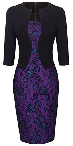 HOMEYEE Damen 3/4 Arm Business Kleid B237 (48, Schwarz Violett Spitze)